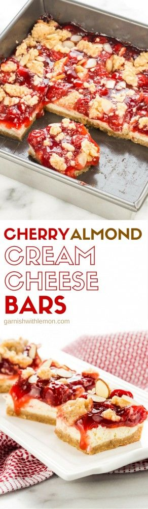 Spoil your sweetheart with these Cherry Almond Cream Cheese Bars, the perfect non-chocolate Valentine's Day recipe! ~ http://www.garnishwithlemon.com