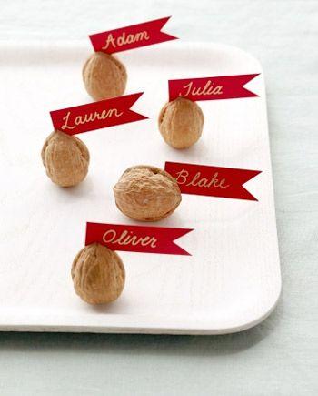 DIY Walnut Thanksgiving Place Cards