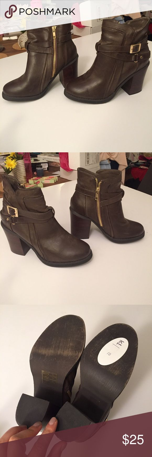 Forever 21 brown faux leather boots-7 On good condition, only flaw is scratch on inner heel on one side.  From forever 21. Tags: mura, tiger mist, showpo, sabo skirt, white fox, missguided, h and m, hello Molly, Stelly, hot Miami styles, fashion nova, princess Polly, verge girl, pop cherry, forever 21, Nordstrom, revolve Forever 21 Shoes Ankle Boots & Booties