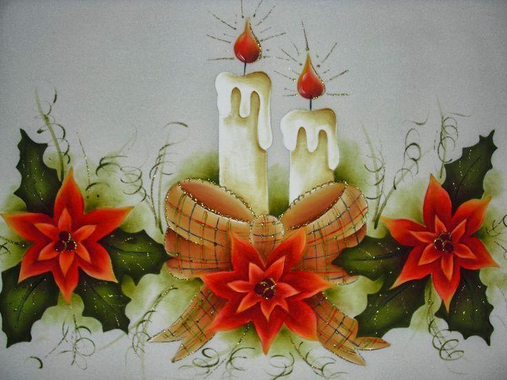 manteles de navidad pintados - Buscar con Google