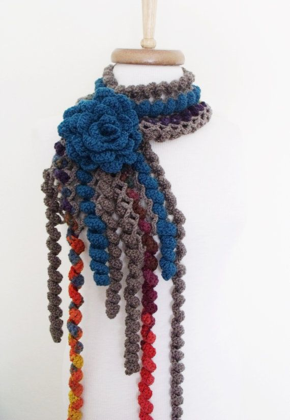 Ringlet Scarf With Flower Brooch Dark Blue by knittingshop on Etsy