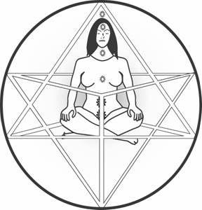 Merkaba (az élet virága)  . . a testet es lelket körülvevő, egymással ellentétes irányban forgó energiamezőket jelenti (kerék a kerékben), olyan energiaspirálokat jelent mint a DNS, amely a testet és lelket átemeli egyik dimenzióból a másikba. Mer –Fény, Ka –Lélek/Szellem, Ba –Test, Fény-Lélek-Test energia komplexum. Központja /magja/ a gyökér csakrában helyezkedik el, ez az isteni erő, a Kundalini. A Mer-Ka-Ba meditáció módszere 17+1 légzésből áll,