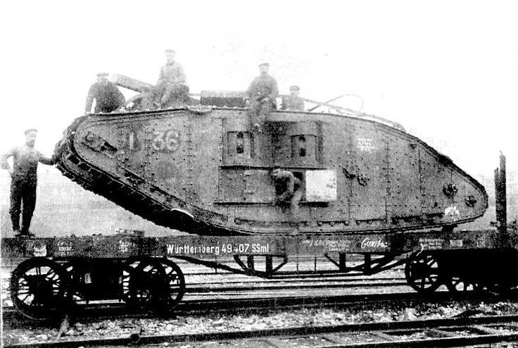 "Captured British Mk IV ""female"" tank on Railroad flat car"