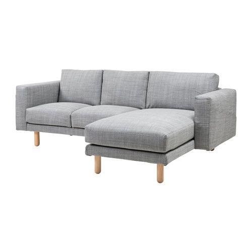 NORSBORG 2-sits soffa med schäslong, Isunda grå, björk Isunda grå björk