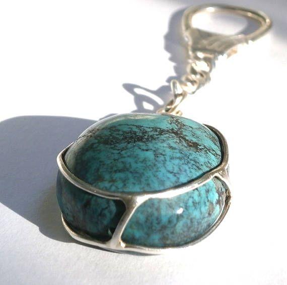 Turquoise Stone Silver Keychain Turquoise Gemstone keychain