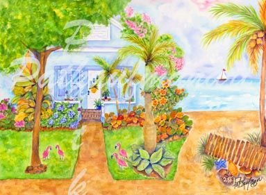 cottages and beach living paintings SE Cottage II