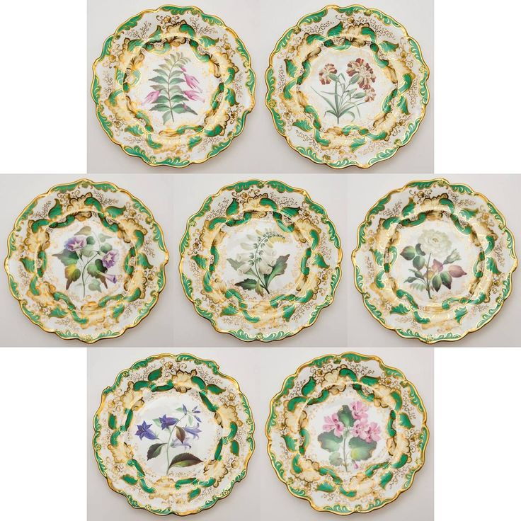 Victorian Staffordshire Hand-Painted Dessert Set | From a unique collection of antique and modern platters and serveware at https://www.1stdibs.com/furniture/dining-entertaining/platters-serveware/