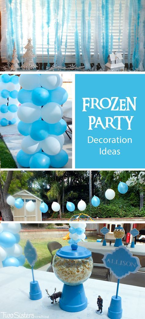 Do you need Disney Frozen Party Decoration Ideas? We have them here including Frozen Birthday Party centerpieces, balloons. water station and DIY ruffled streamers. And for more amazing Frozen Party Ideas follow us at http://www.pinterest.com/2SistersCraft/