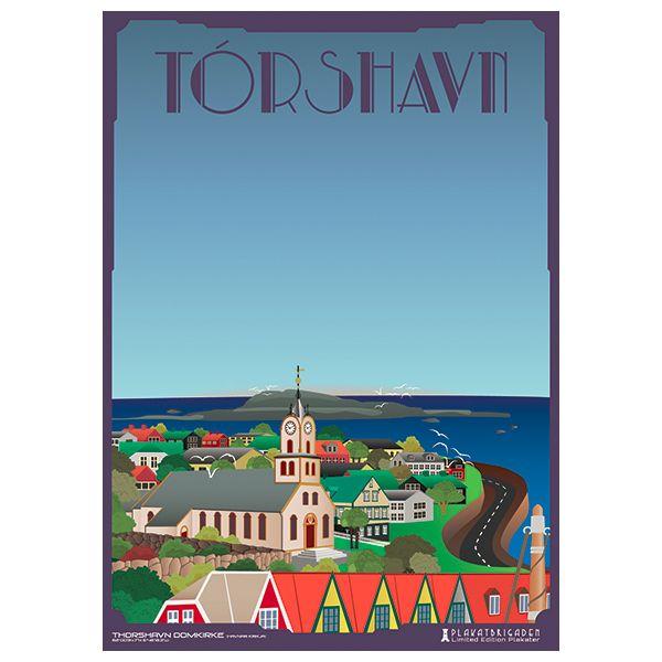 Limited edition plakat af Thorshavn Domkirke/Havnar Kirkja