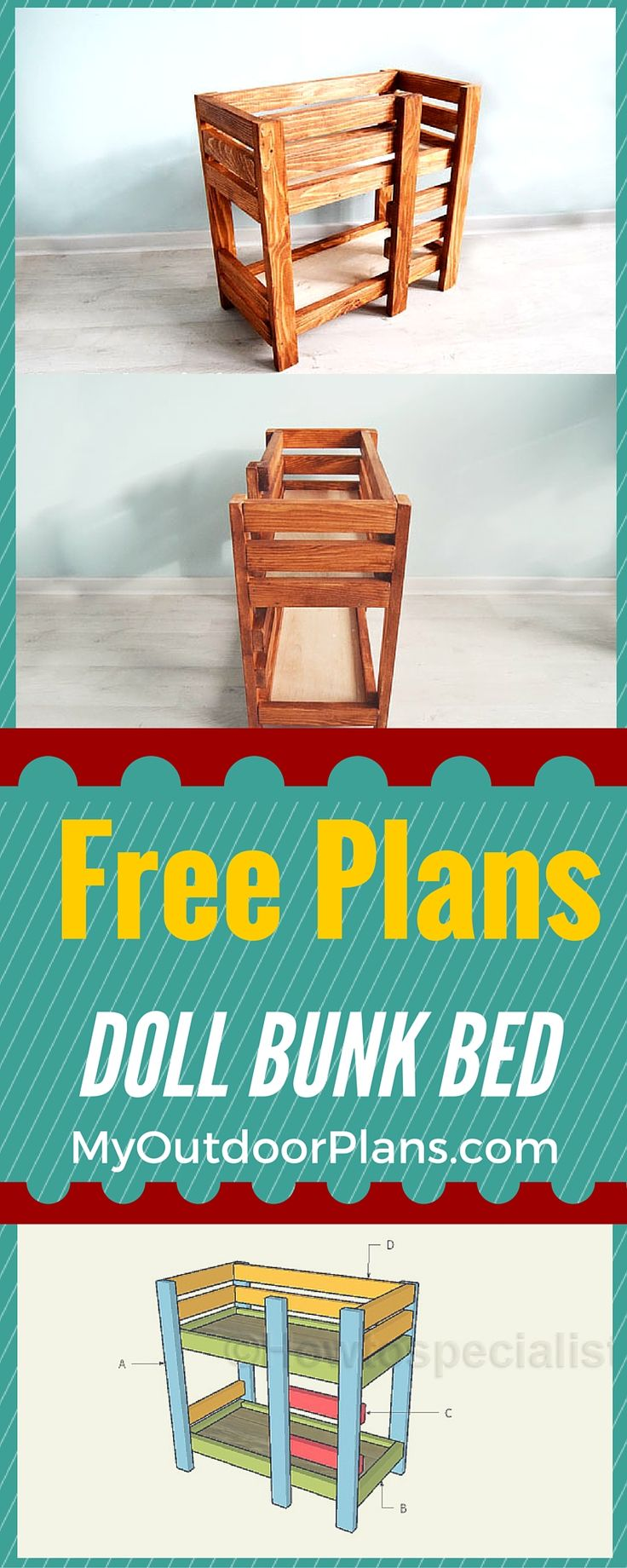 """Easy to follow doll bunk bed plans - Learn how to build a 18"""" american doll bunk bed from 1x2s and brad nails! It is that simple to create a handcrafted gift! Plans at howtospecialist.com"""