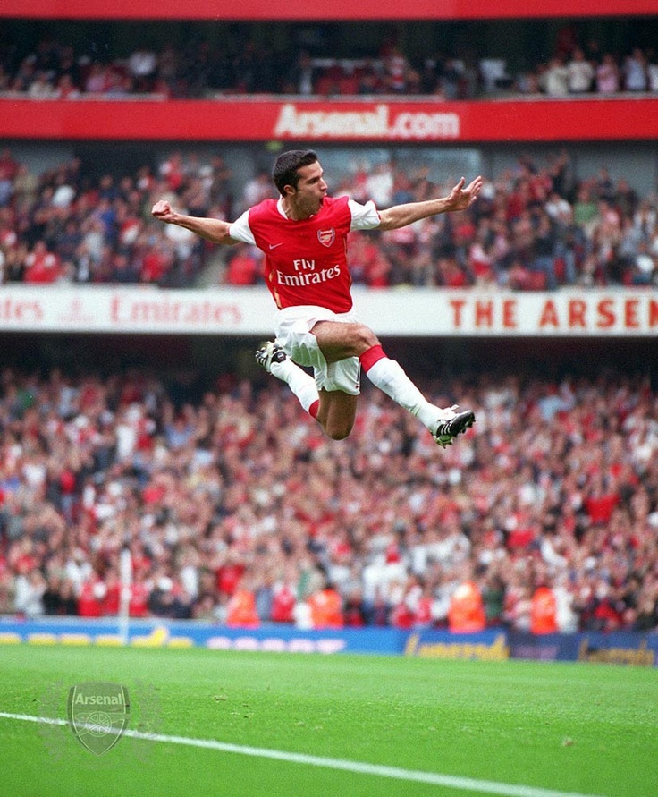 Van Persie. I say that looks an enormously high jump to me?