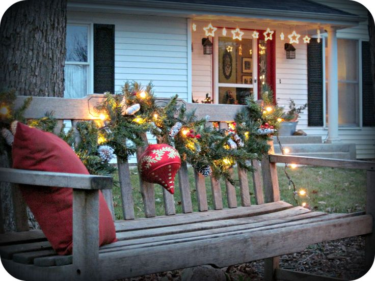 My Christmas Porch And Entry Decorations Bench