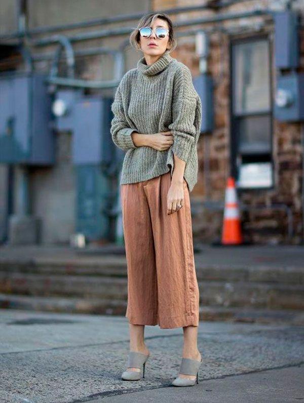 look culotte e maxi tricot com gola marrom + cinza