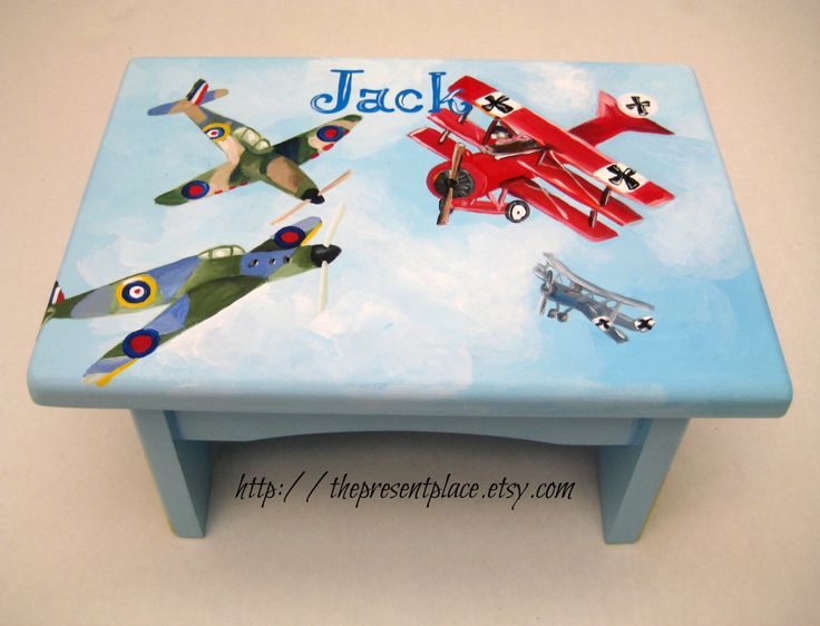 A hand painted stepstool with the Red Baron and British spitfires,bench,personalized kids stool,childrens stepstool,British planes,kids gift by thepresentplace on Etsy https://www.etsy.com/listing/157429362/a-hand-painted-stepstool-with-the-red