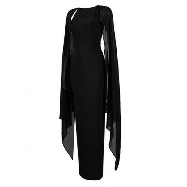 Elvira Chiffon And Bandage Cape Plus Size Gown (£185) ❤ liked on Polyvore featuring dresses, gowns, plus size ball gowns, plus size cocktail dresses, plus size gowns, chiffon gowns and bandage dress