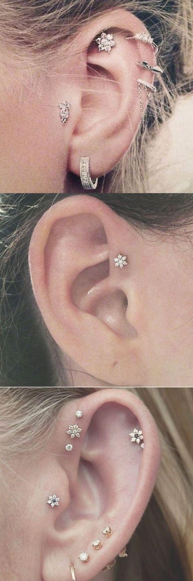 Cute Ear Piercing Ideas at MyBodiArt.com - Cartilage Earring, Triple Forward Helix Studs, Tragus Jewelry - Felicity Flower Star Crystal