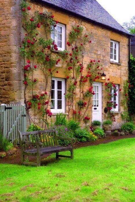 Stone cottage house covered in red flowers and vines