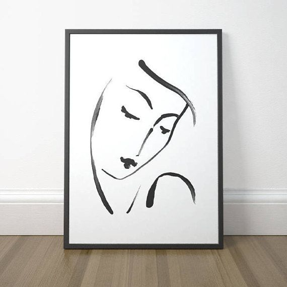Black and white female face art print. This design is a beautiful, artistic printable wall art for digital download. A modern and minimalist instant wall decor for your home!  ---- THE FILES YOU RECEIVE ----  After purchasing the item you will be able to instantly download your files.