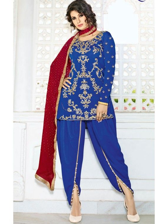 Gaudi Royal Blue and Red Patiala Salwar Kameez