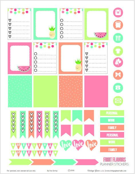 Free Printable Fruit Flavors Planner Stickers from Vintage Glam Studio