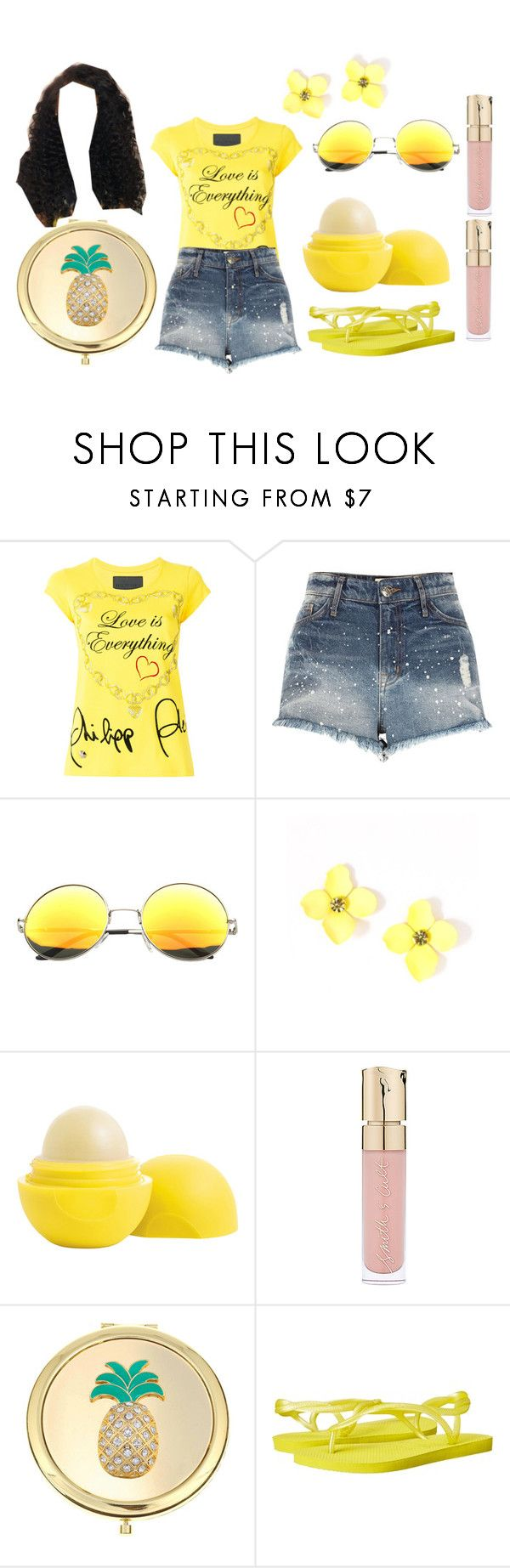 """""""Yellow mello summer"""" by nicoleshine12 ❤ liked on Polyvore featuring Philipp Plein, River Island, SW Global, Eos, Smith & Cult, Liz Claiborne and Havaianas"""