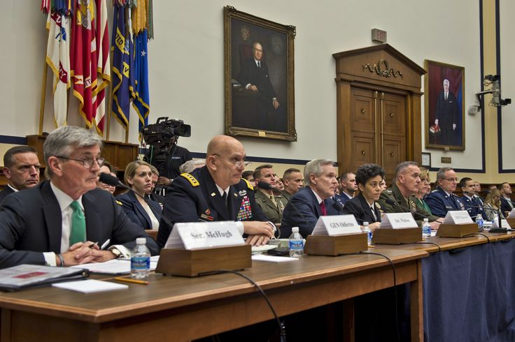 From left, Army Secretary John M. McHugh, Army Chief of Staff Gen. Ray Odierno, Navy Secretary Ray Mabus, Vice Chief of Naval Operations Adm. Michelle Howard, Marine Corps Commandant Gen. Joseph F. Dunford Jr., Air Force Secretary Deborah Lee James and Air Force Chief of Staff Mark A. Welsh III listen to questions on the defense budget from members of the House Armed Services Committee in Washington, D.C., March 17, 2015.