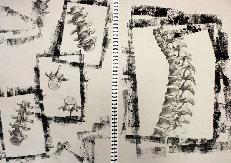 """Page from A2 sketchbook """"Under the Microscope, Beneath the Skin"""", ink drawing"""
