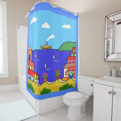 Mediterranean Holiday Shower Curtain - home gifts ideas decor special unique custom individual customized individualized