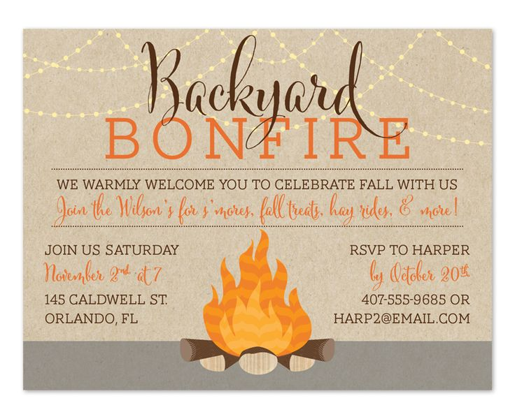 Backyard Bonfire - Party Invitations by Invitation Consultants. (IC-RLP-1873-BK )