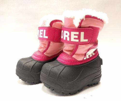 SOREL Kids Snow Commander Winter Boots Pink Size 4