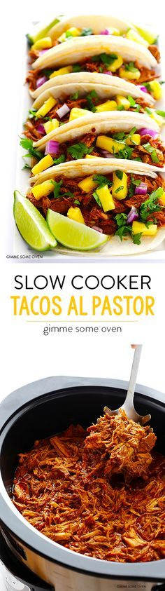 Slow Cooker Tacos Al Pastor -- simple to make in the crockpot, and full of amazing flavor! | gimmesomeoven.com .