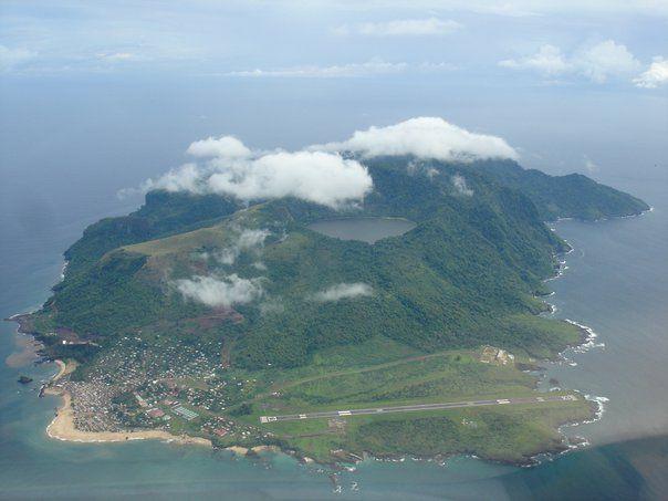 Aerial view of annabon Island equatorial Guinea