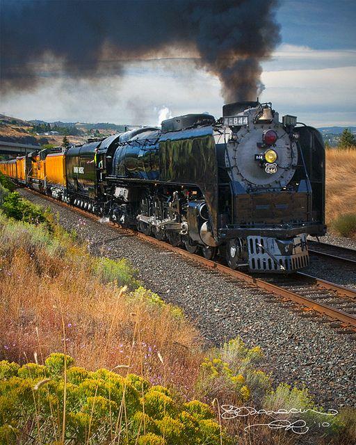 Union Pacific 844 Steam Locomotive at the Dalles - Oregon. Last steam locomotive built for Union Pacific Railroad