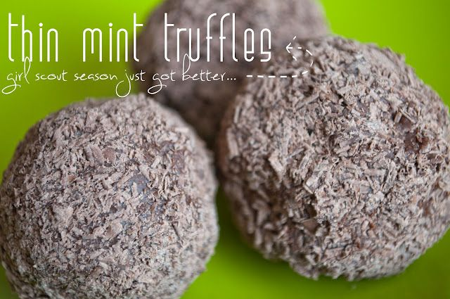 Thin Mint Truffles Recipe...: Recipes Girls, Mint Truffles, Desserts Recipes, Thin Mint Cookies, Desserts Ideas, Thin Mints, Chocolates Desserts, Healthy Desserts, Girls Scouts Cookies