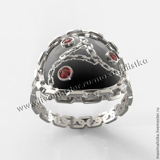 """Кольцо """"Трискель"""" золото 585, сапфиры красные, черная эмаль"""