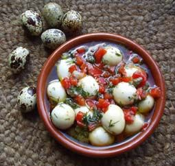 Marinated Quail Eggs.  I will tweak the herbs a bit but this is the closest recipe to what I want that I can find.