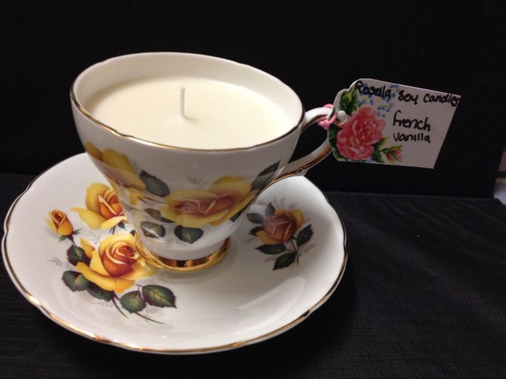 French vanilla vintage teacup candle