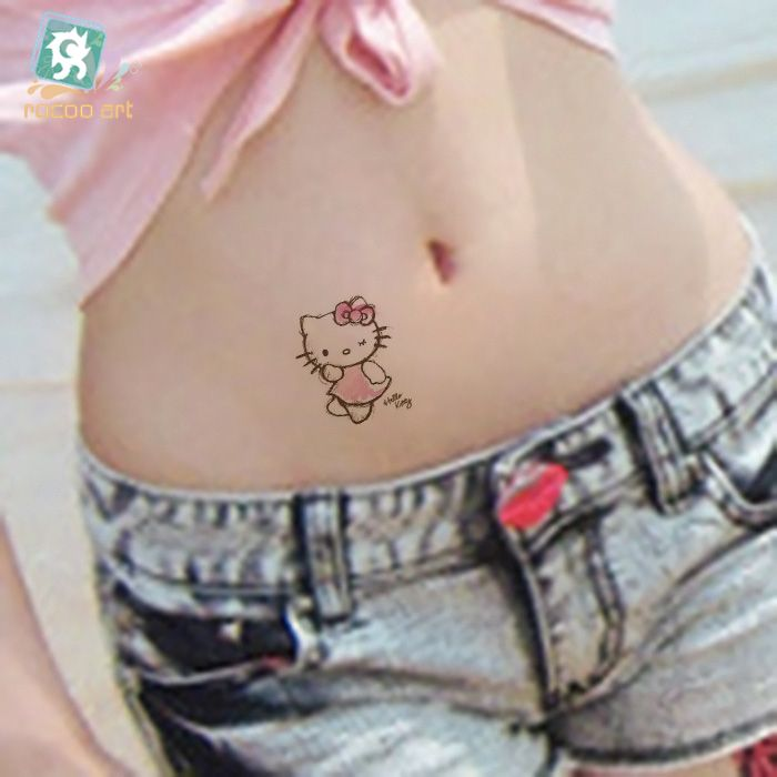 Waterproof Fake Tattoo Women Sexy Belly Waist Cartoon Hello Kitty Stickers For Childrens Flash Temporary Tattoo Decals Taty