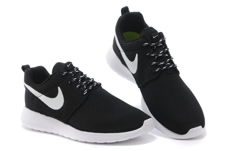 nike roshe run black white mesh shoes