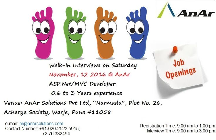 Walk in on Saturday – 12th November 2016 - 09.00 am to 3:00 pm  Call us on 7276332494 and send in your resumes at hr@anarsolutions.com #AnArSolutions www.anarsolutions.com