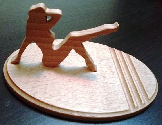 Wooden phone holder lady / Wooden phone stand