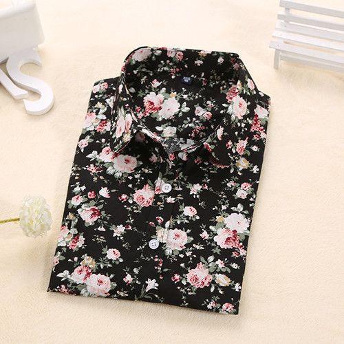Blouse Turn Down Collar Floral Blouse Long Sleeve Shirt
