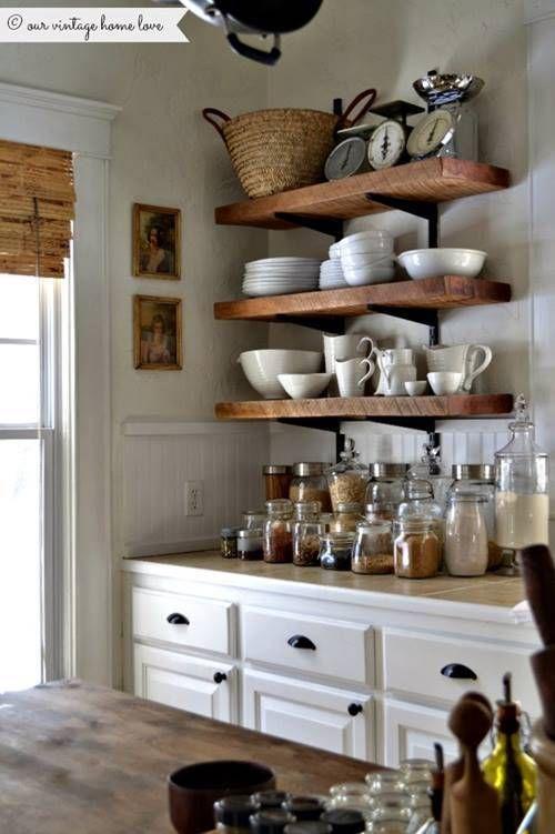 estanteras de madera baratas con escuadras para cocinas con encanto