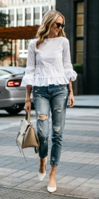 Amy Jackson + white cotton blend ruffle top + distressed jeans + leather bag + white pointed toe heels.  Top: Club Monaco, Jeans: BlankNYC, Heels: Zara, Handbag: Celine, Sunglasses: Karen Walker c/0, Watch: Larsson & Jennings. Spring Outfits