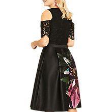 Buy Oasis Lily Cold Shoulder Skater Dress, Multi/Black Online at johnlewis.com