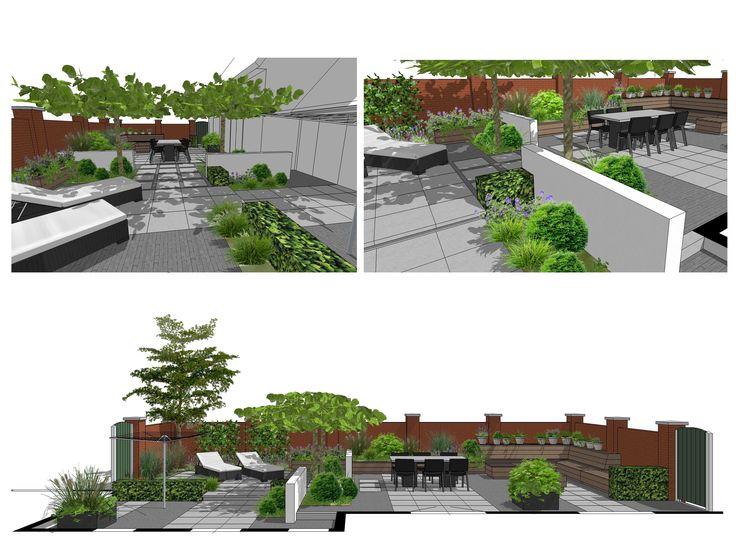 Tuinontwerp ommuurde tuin met Platoflex elementen en houten loungebank ontworpen door Goed Plan Tuinontwerp #SketchUp