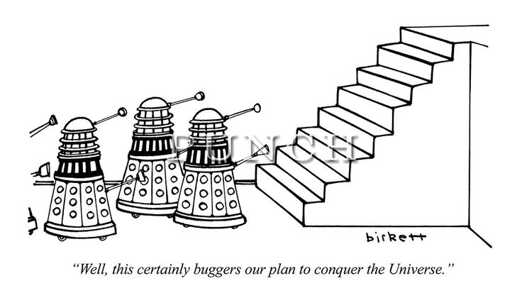 """Well, this certainly buggers our plan to conquer the Universe."" Classic Doctor Who cartoon from Punch magazine, 1981. Peter Capaldi has been chosen to play the 12th Doctor Who in BBC's long running TV series."