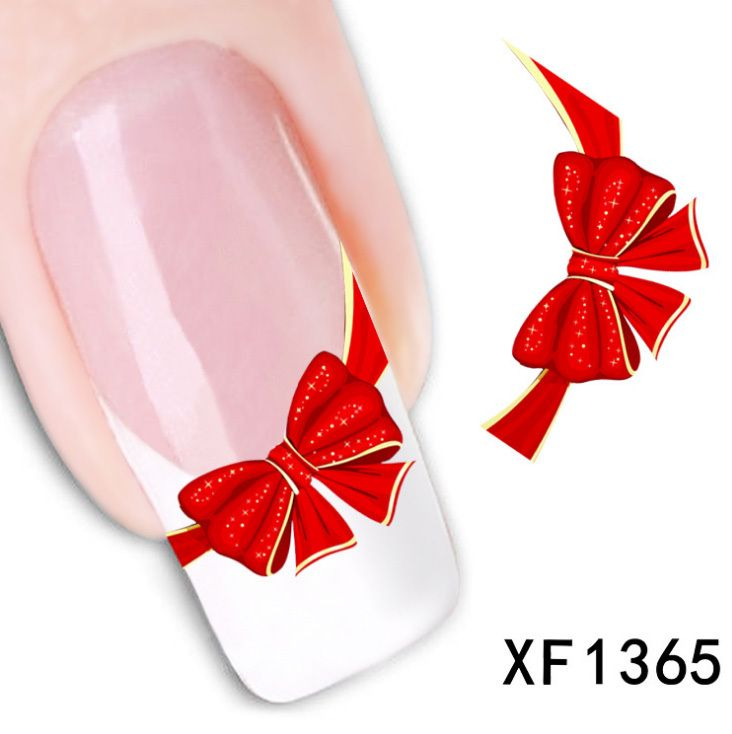 1 Sheet Red Bow Ribbon French Nail Water Decals Art Transfer Stickers Decoration Nail Salon DIY XF1365
