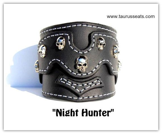 Leather Cuff Bracelet | Bikers Leather Wristband | Motorcycle Accessory | Mens Black Leather Bracelet | Skull Studs and Silver Stitching