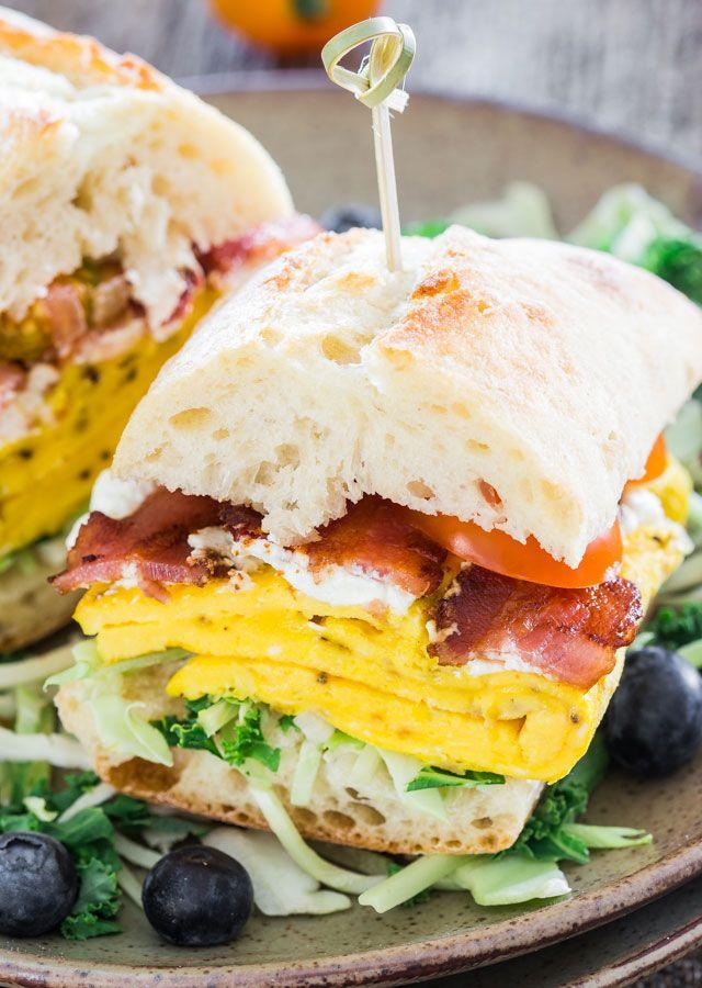 Bacon Omelette Goat Cheese Ciabatta Breakfast Sandwiches FoodBlogs.com